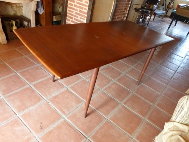 Table en teck Scandinave 1950 meuble design