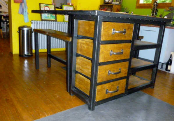 meuble style industriel m tal bois fabrication sur mesure. Black Bedroom Furniture Sets. Home Design Ideas